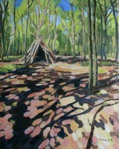 Painting of Wimbledon Common den woodland