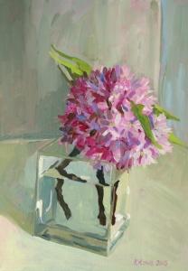 Cherry blossom oil sketch, 26x36cm, sold