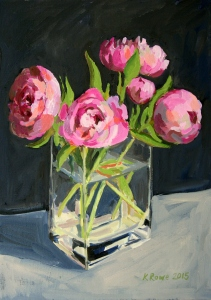 Peony oil sketch, glass vase,  25x35cm, £295