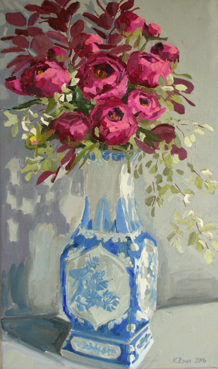 Bright pink peonies in Chinese vase, 33x55cm, £625 framed