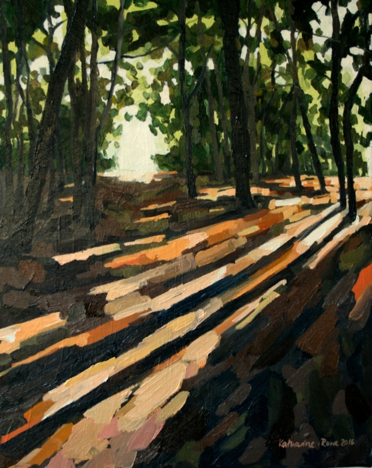 October light in Wimbledon Common wood, 40x50cm unframed , £550