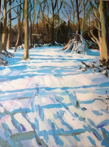 snowy den on wimbledon common snow blue oil paint