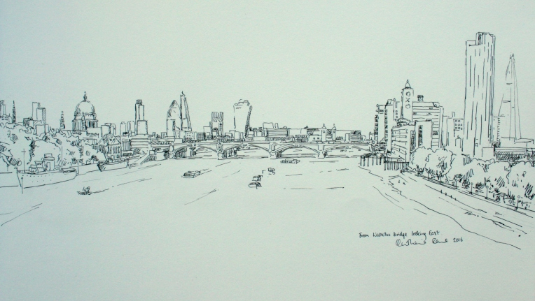 Pen drawing, view from Waterloo bridge