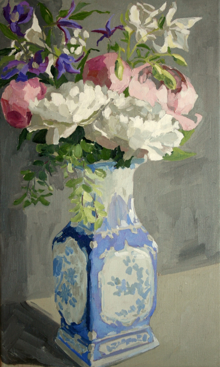 Spring flowers in Chinese vase, 33x55cm unframed, £525
